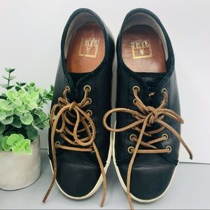 Frye low lace black leather sneaker shoes size 9